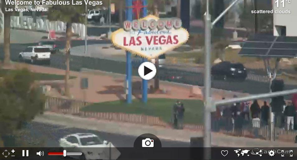 1. Webcam met het beroemde Las Vegas bord